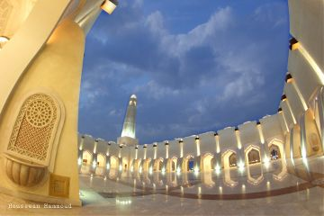 qatar mosque photography clouds