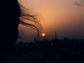 sunrise silhouette hair emotion light