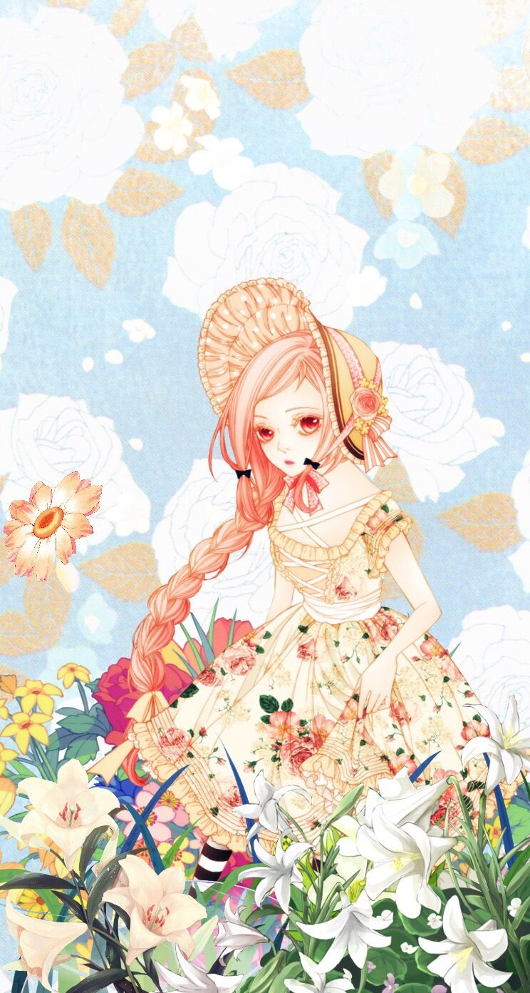 cute anime girl pastel lolita flowers kawaii