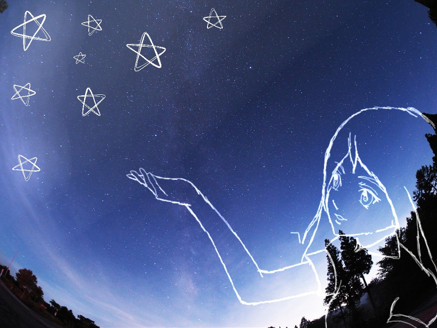 #dcdrawon #anime #manga #girl #stars #night #drawing #sky  #blue  #drawon 50th place with 44 votes