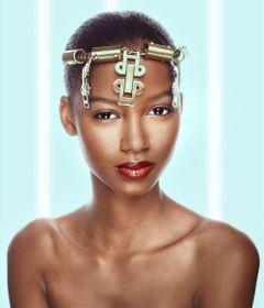 beautyful skin blue gold portrait