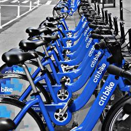 Blue newyork colorsplash blackandwhite bike