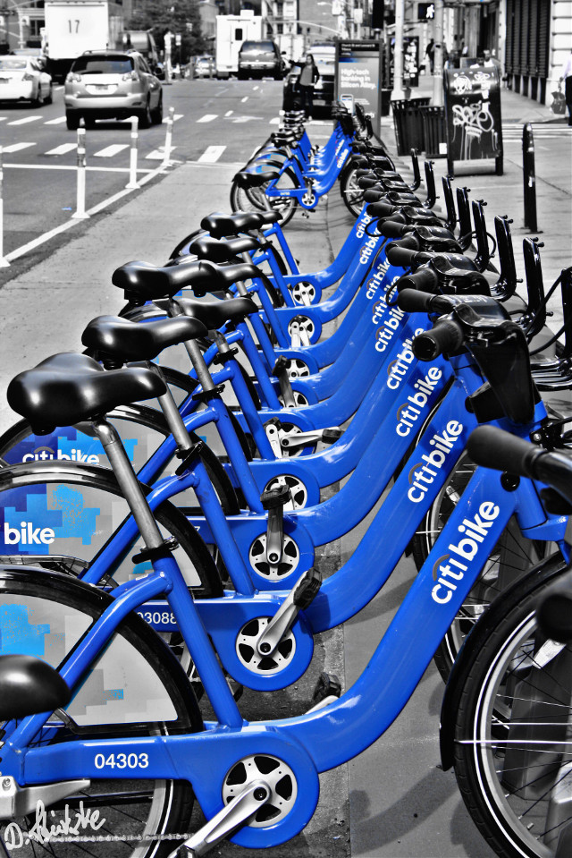 #Blue #newyork #colorsplash  #blackandwhite  #bike